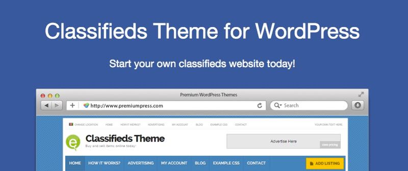 Create Classified Ads Website with Classifieds WordPress Theme
