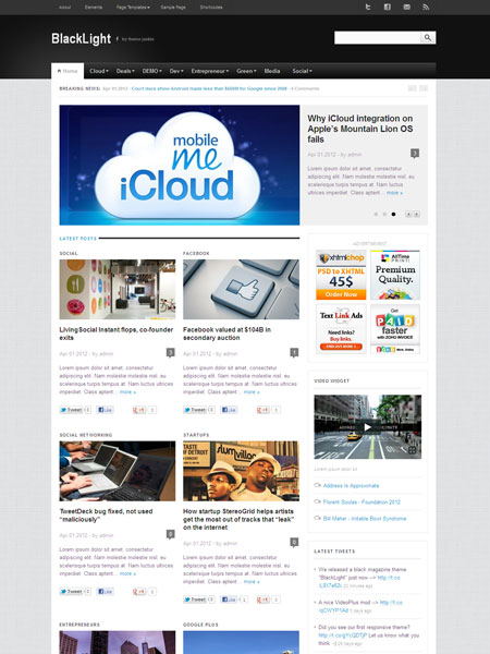BlackLight WordPress Theme for Online Magazine, Pro Bloggers