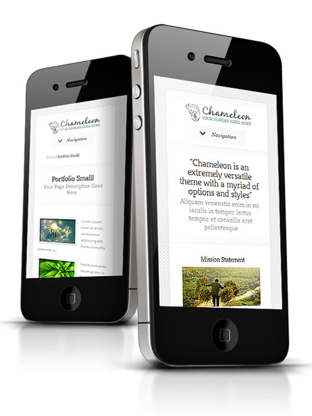 Chameleon WordPress Responsive Theme for iPhone, iPad & Tablet Devices