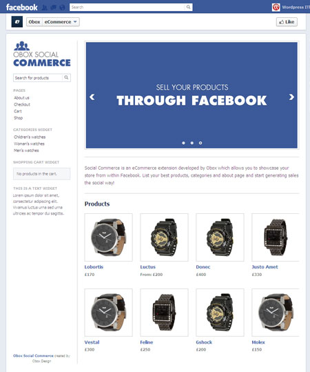 Obox Social Commerce Facebook Store Plugin
