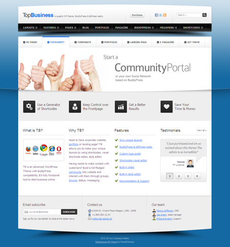 TopBusiness WordPress BuddyPress Theme