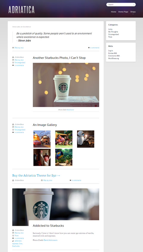 Adriatica WordPress Theme for Simple Tech Blog & Photo Bloggers