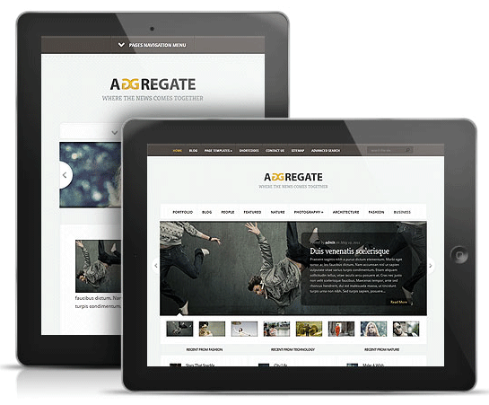 Aggregate WordPress Theme for iPad