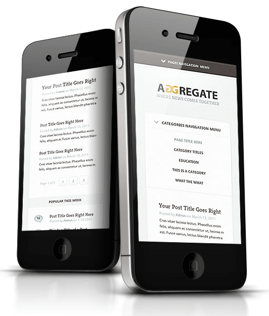 Aggregate WordPress Theme for iPhone