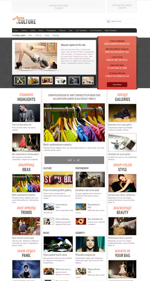 Arts & Culture WordPress Magazine Theme for Fashion, Celebrity & Gossip