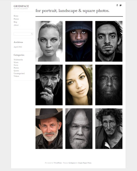 Gridspace WordPress Responsive Portfolio Theme & Portrait Images
