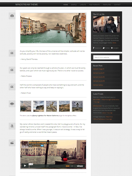Mindstream 1.0 WordPress Theme for Tumblr Style Posting Formats