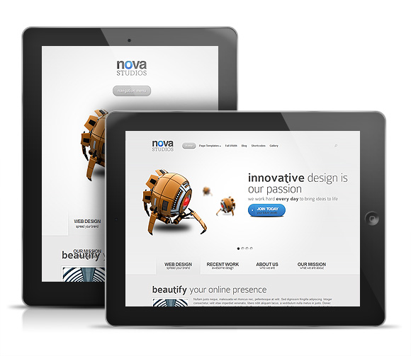 Nova WordPress iPad Theme