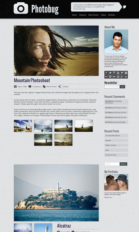 Photobug WordPress Photography Portfolio Theme for Images & Videos