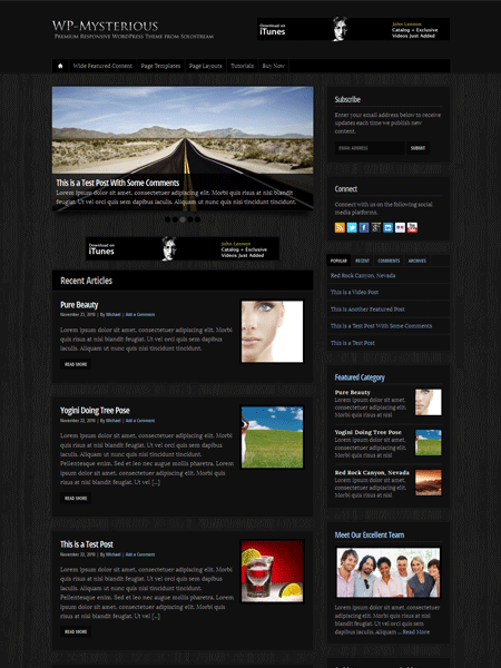WP Mysterious Responsive Online Magazine Theme (Mobile-Ready)
