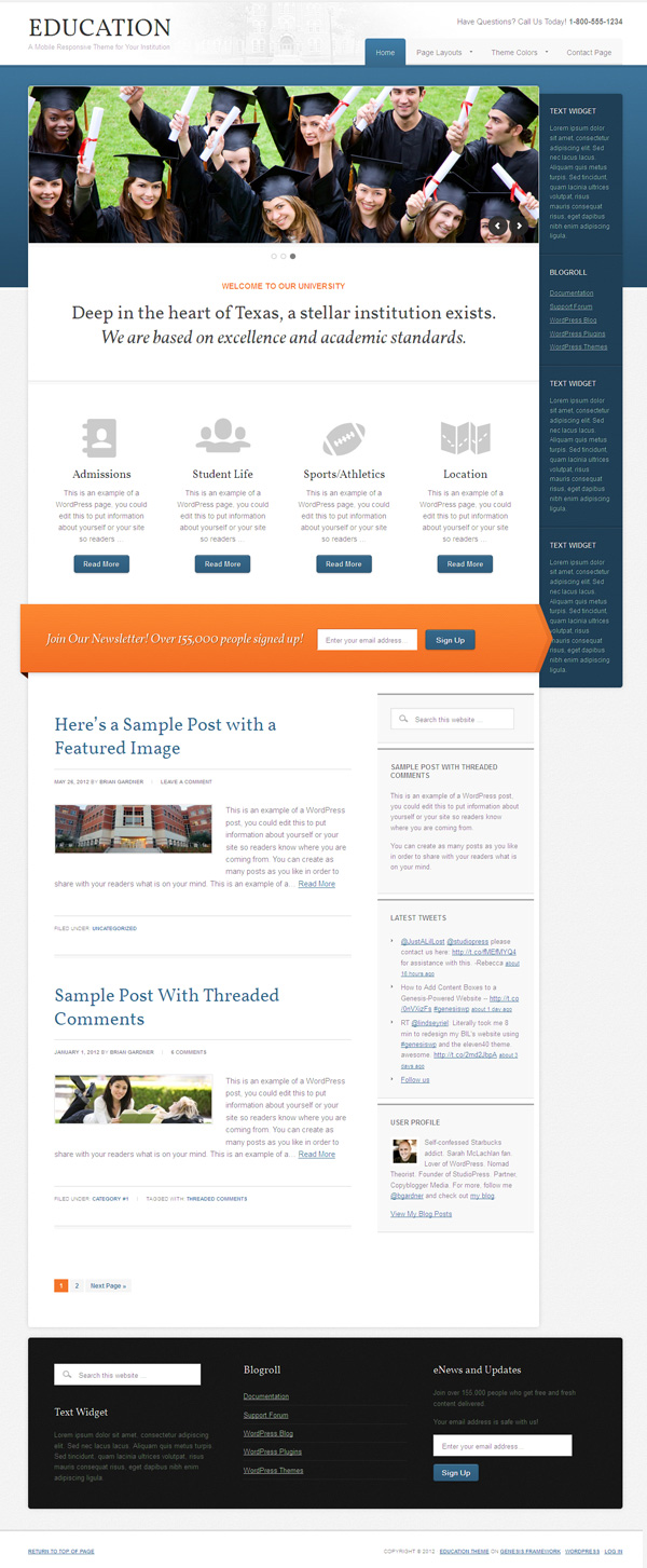Education 2.0 WordPress Institutions Theme