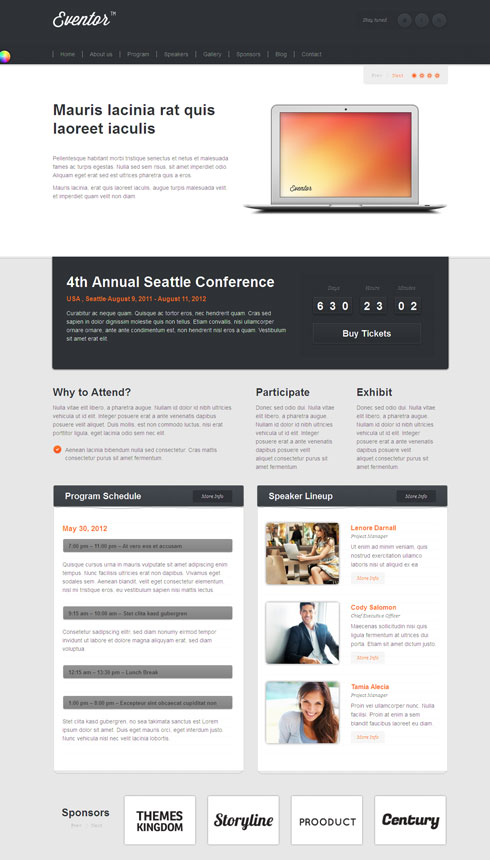 Eventor WordPress Theme for Event planning & Program Schedule