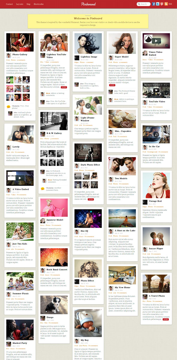 Pinboard WordPress Theme like Pinterest