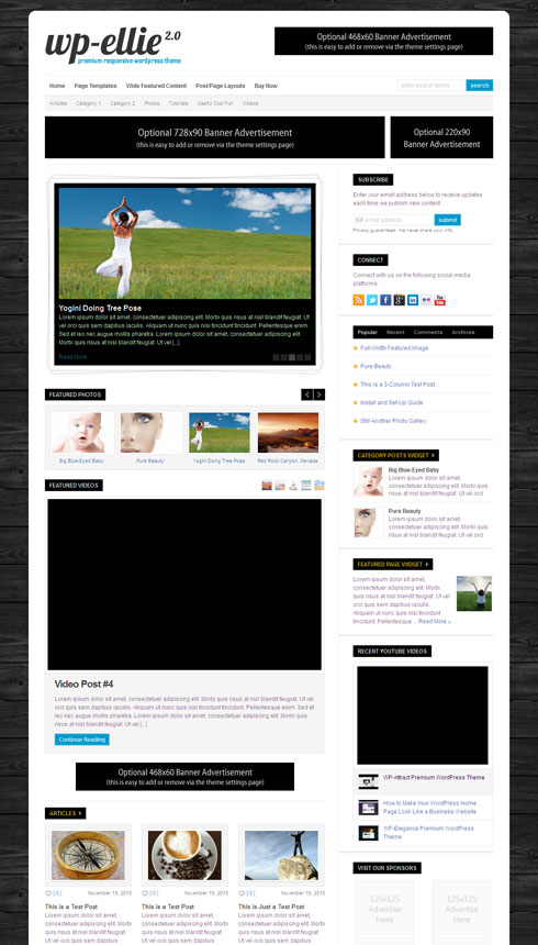 WP-Ellie 2.0 WordPress Theme for Responsive Online Magazine Blog
