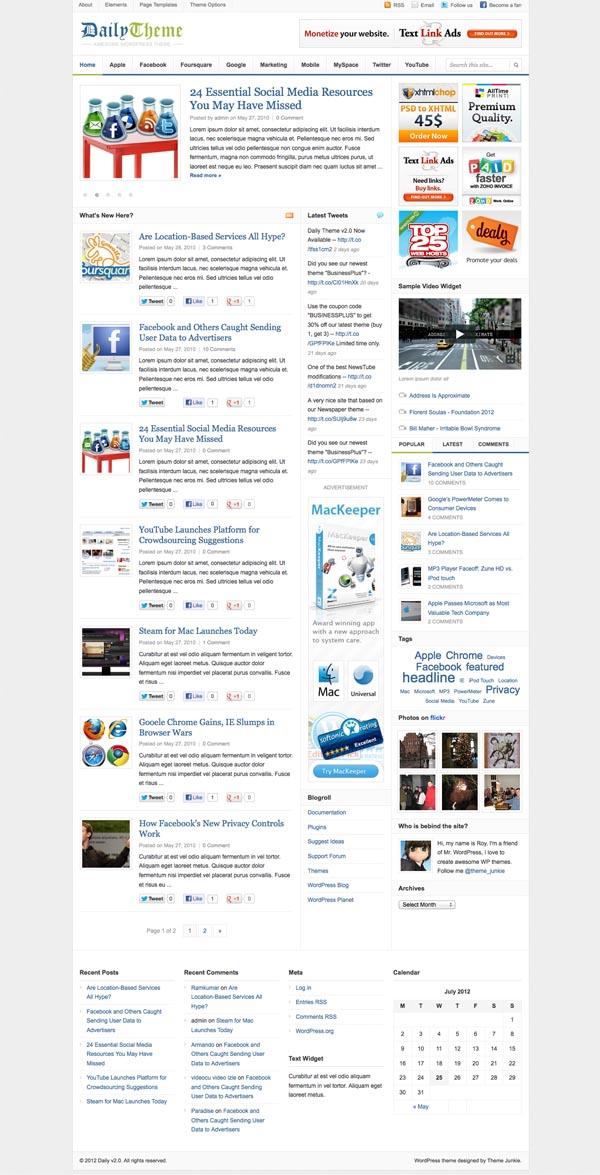 Daily Theme v2.0 for WordPress Magazine