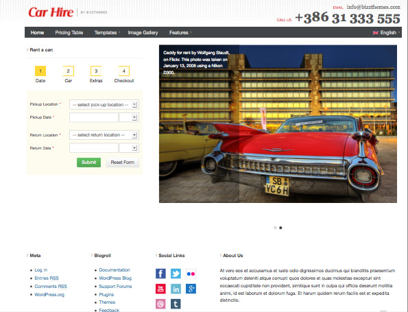 Car Hire WordPress Booking System Theme