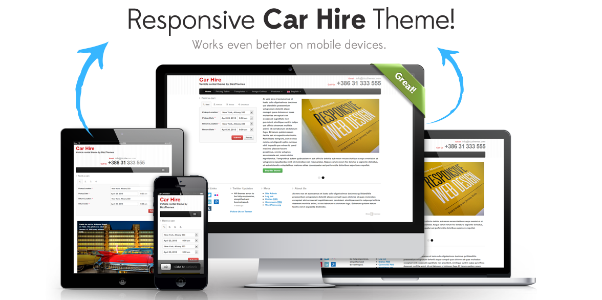 CarHire Responsive car hire WordPress Theme