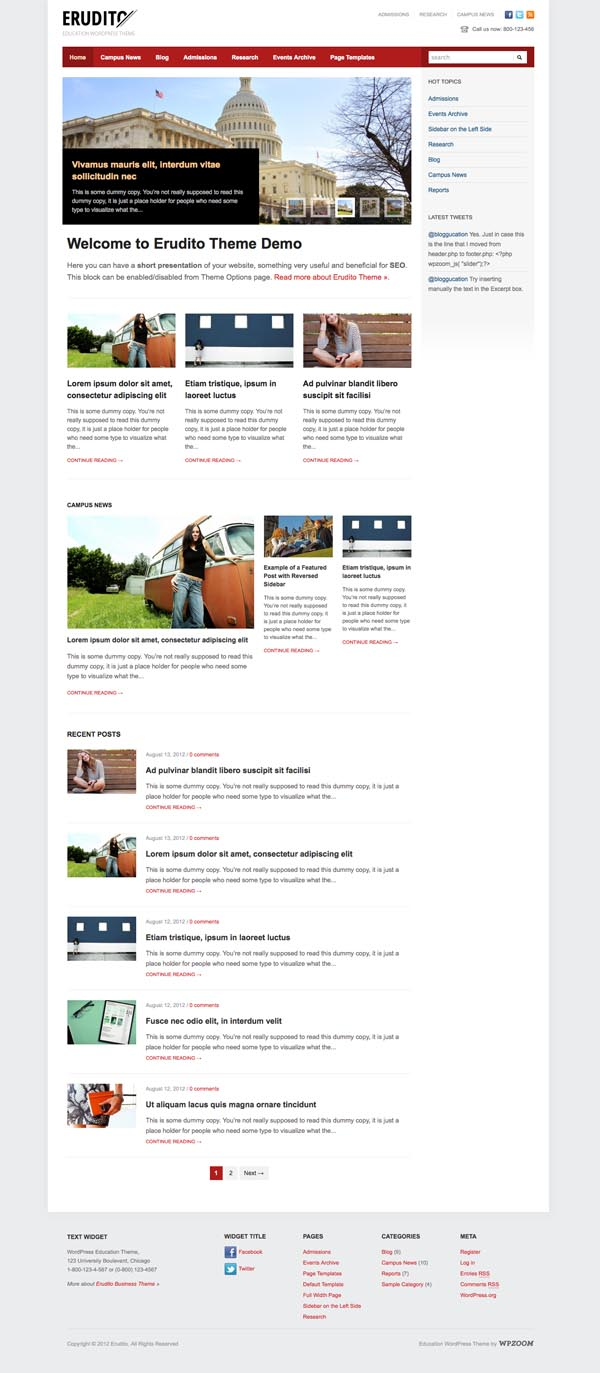 Erudito Responsive WordPress Colleges Theme