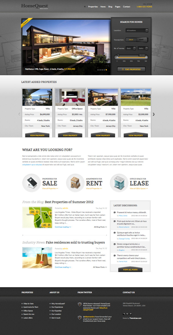 HomeQuest WordPress Real Estate Theme