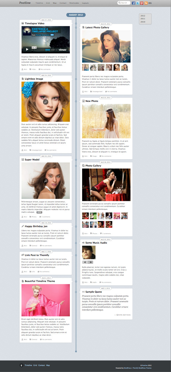 Postline WordPress Facebook Timeline Theme