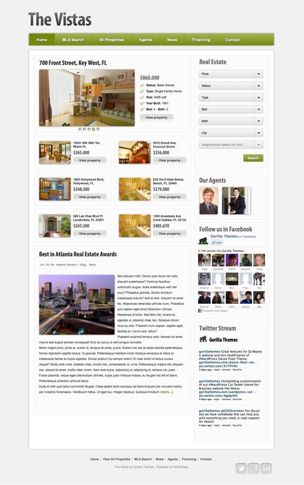 The Vistas 2.0 WordPress Real Estate Theme