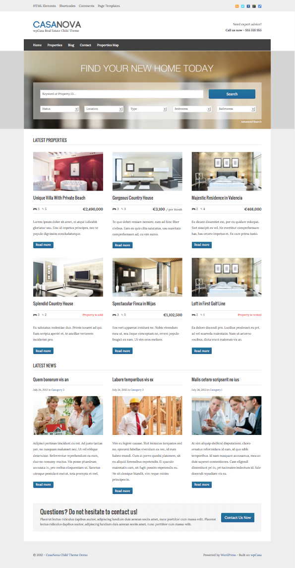 CasaNova WordPress Real Estate Theme