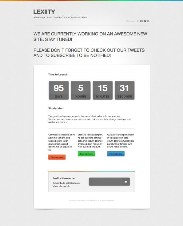 Lexiity Free Responsive WordPress Coming Soon Theme