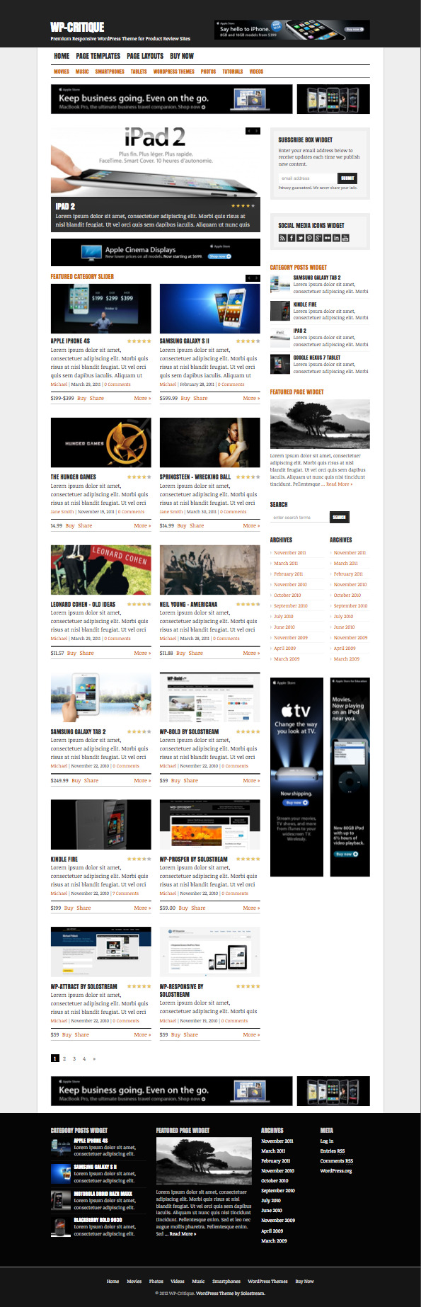 WP Critique Responsive Review Theme