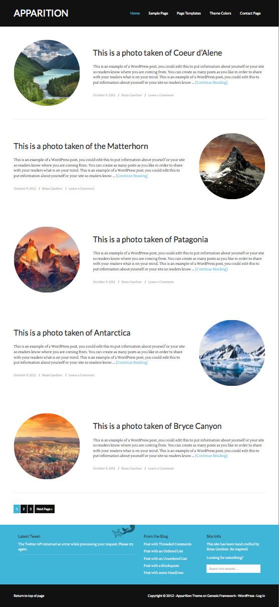 Apparition WordPress Photography Theme