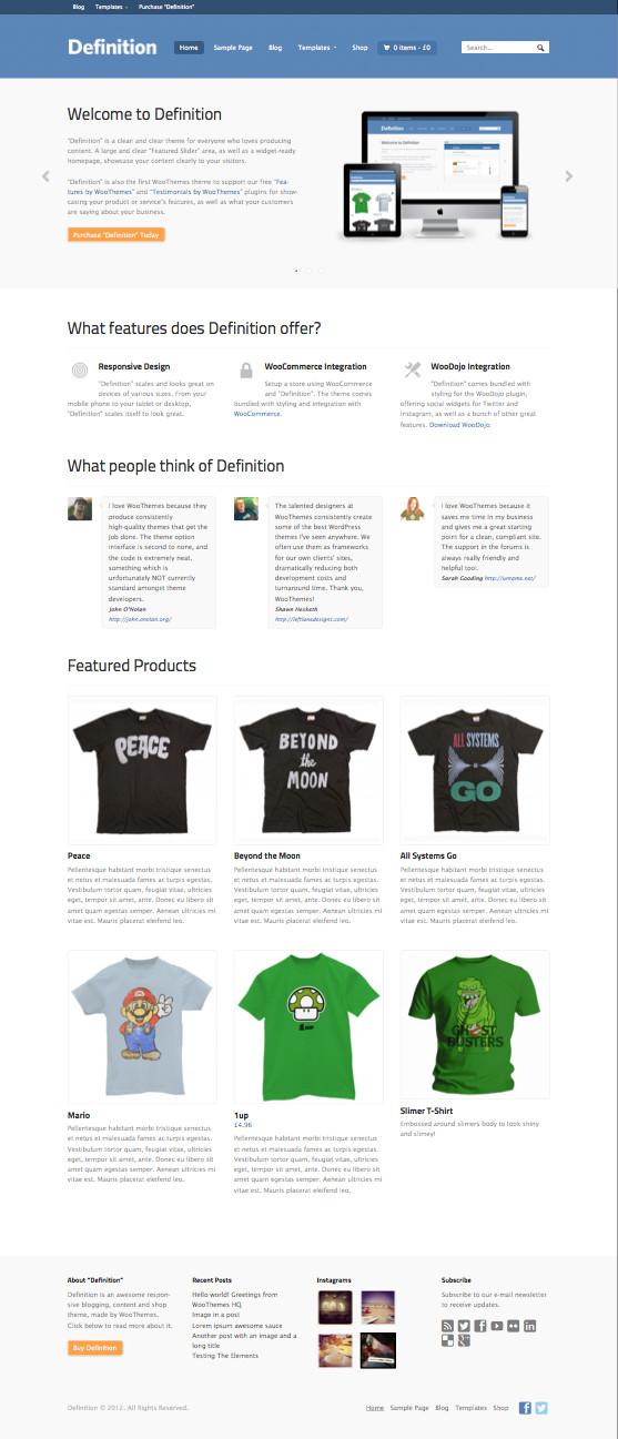 Definition WordPress eCommerce Shop Theme