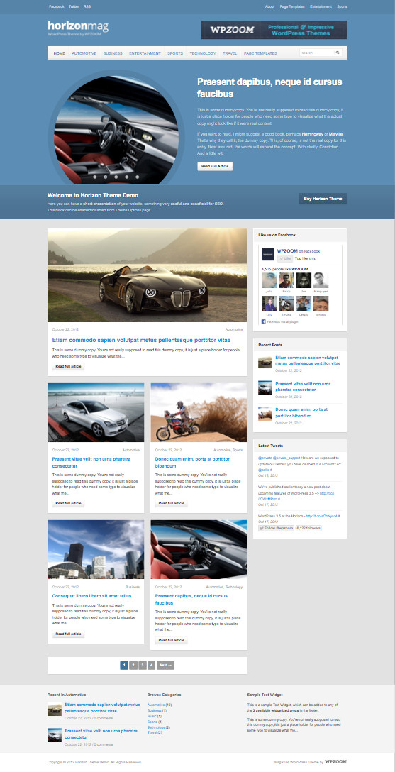 Horizon WordPress Magazine Style Theme