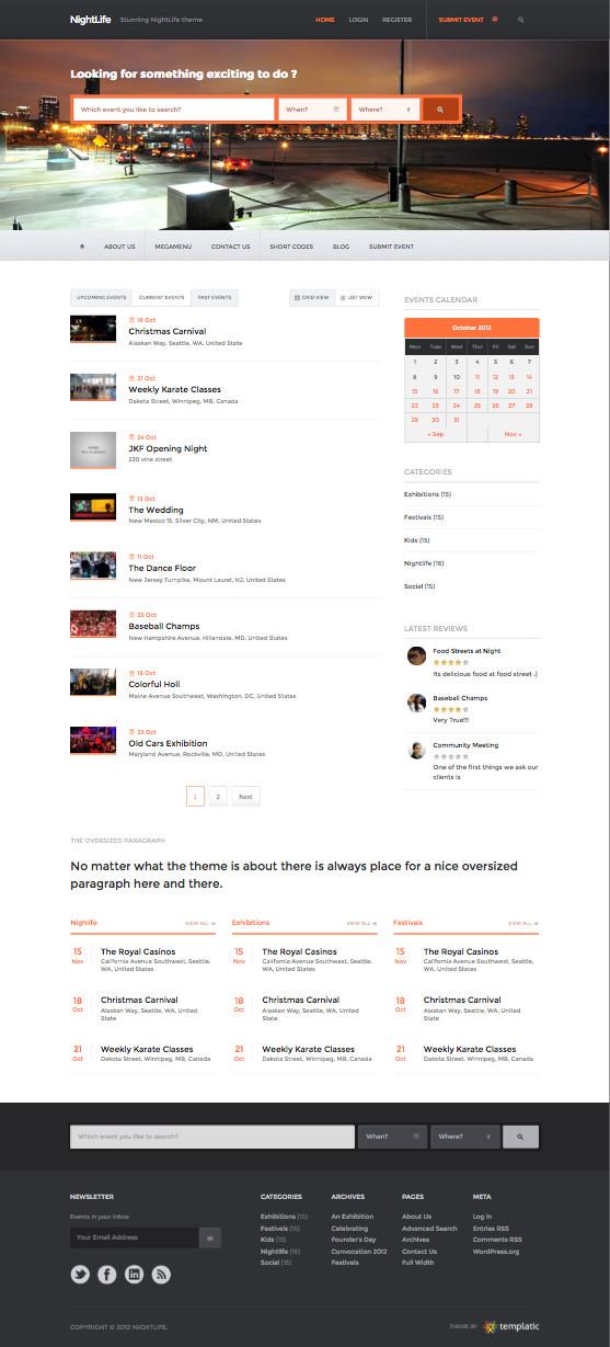 Nightlife Responsive WordPress Events Theme
