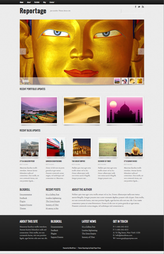Reportage Responsive WordPress Photojournalists Theme