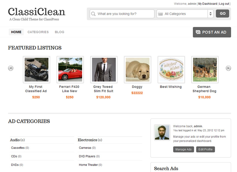 ClassiClean Simple Child Theme