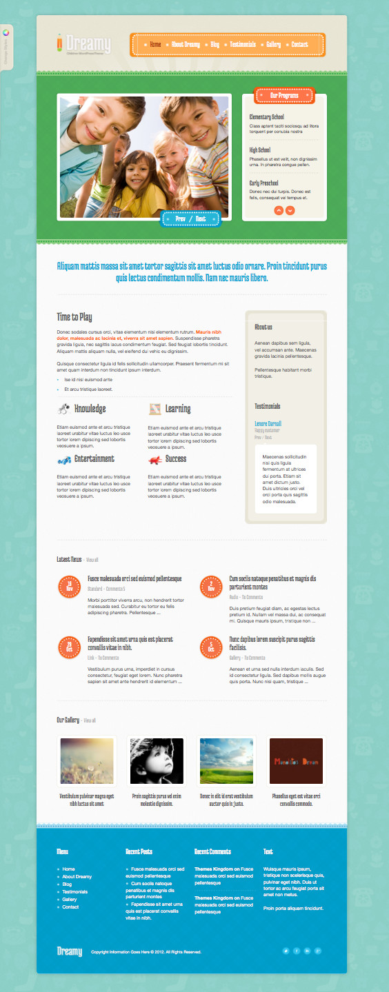 Dreamy Responsive WordPress Child Care Theme