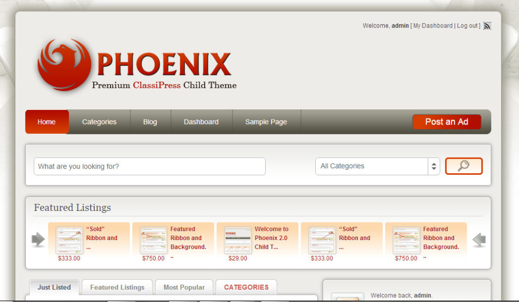 Phoenix Minimum Child Theme