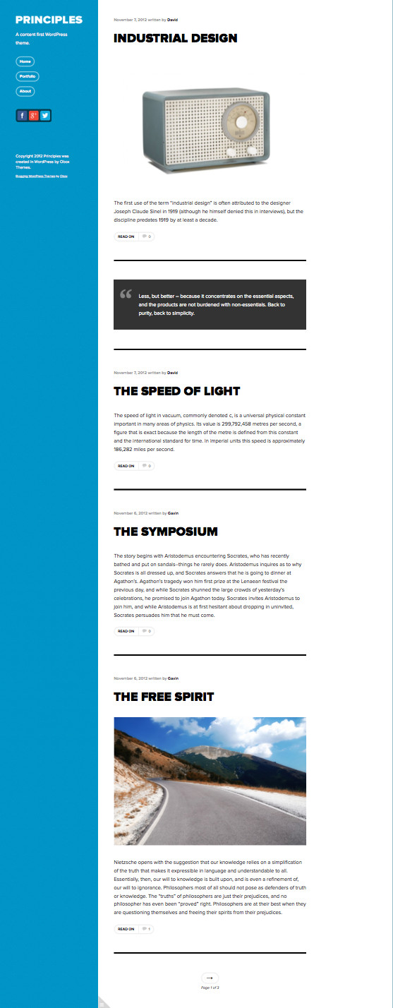 Principles Responsive WordPress Blog Theme