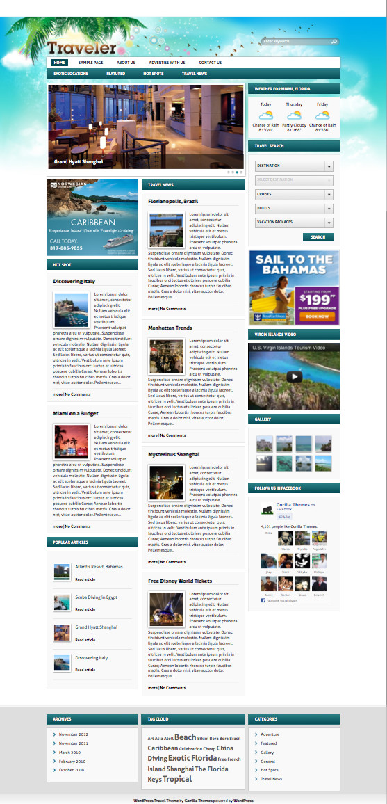 Traveler 5.0 WordPress Travel Portal Theme