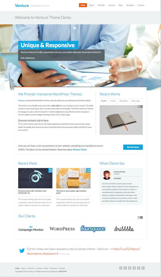 Venture WordPress Ajax Business Portfolio Theme
