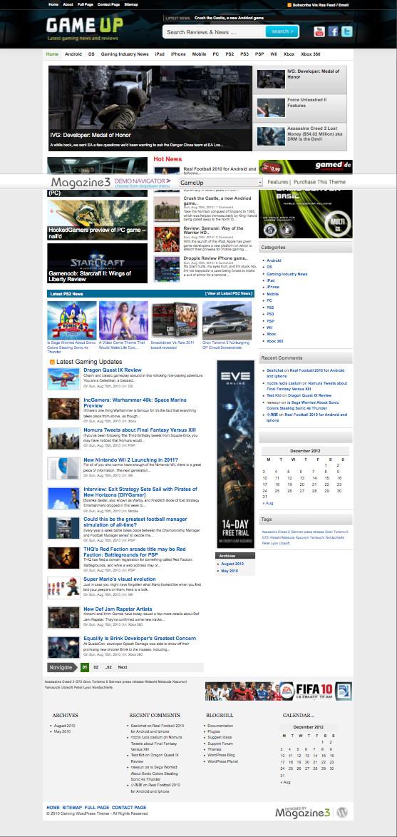 GameUp WordPress Gaming Portal Theme