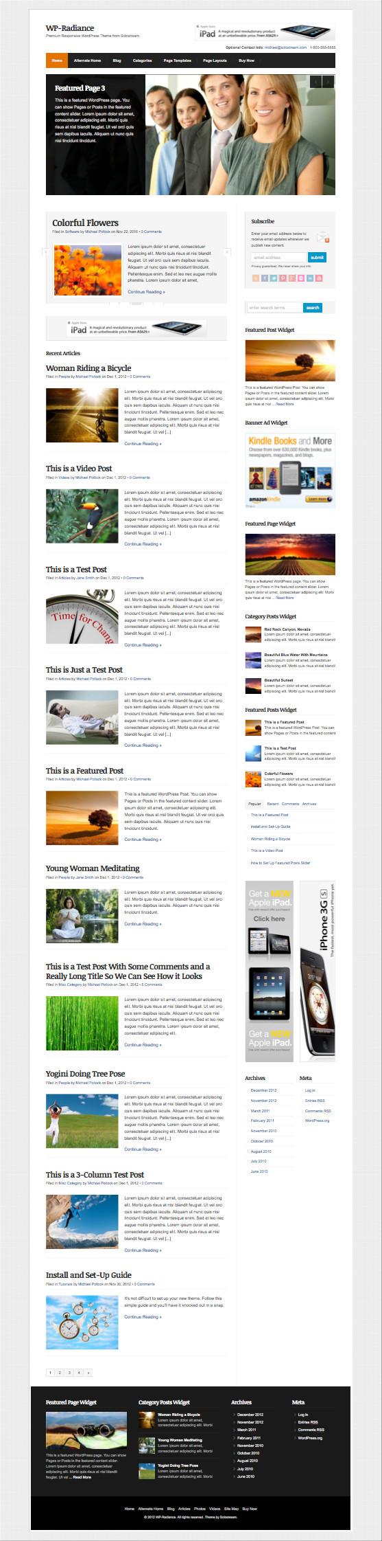 WP-Radiance Responsive Magazine Theme