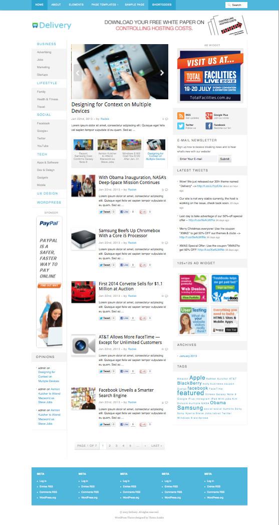 Delivery WordPress Magazines Theme
