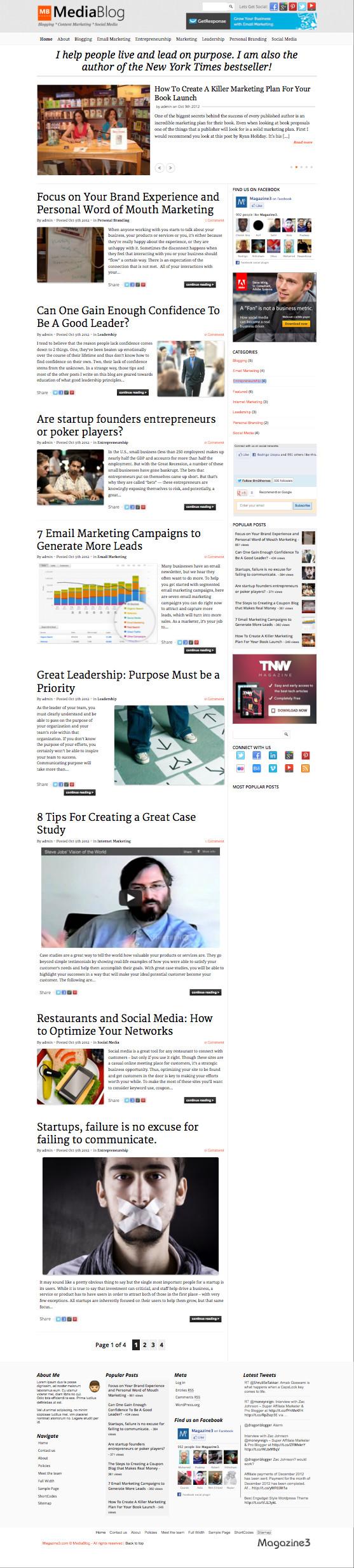 MediaBlog Responsive WordPress Probloggers Theme