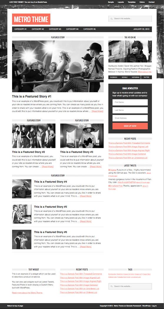 Metro WordPress Widescreen Magazine Theme