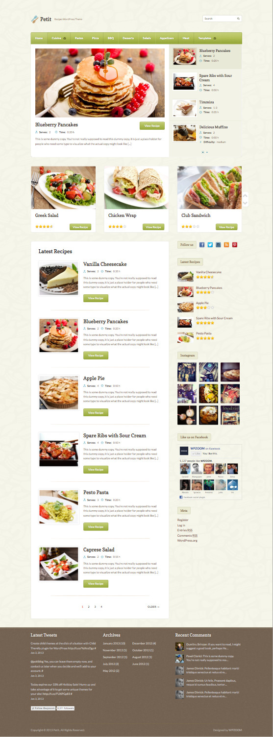Petit WordPress Recipes Theme