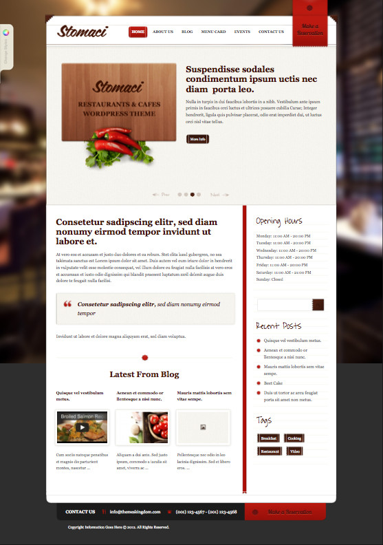 Stomaci 2.0 WordPress Cafes Theme
