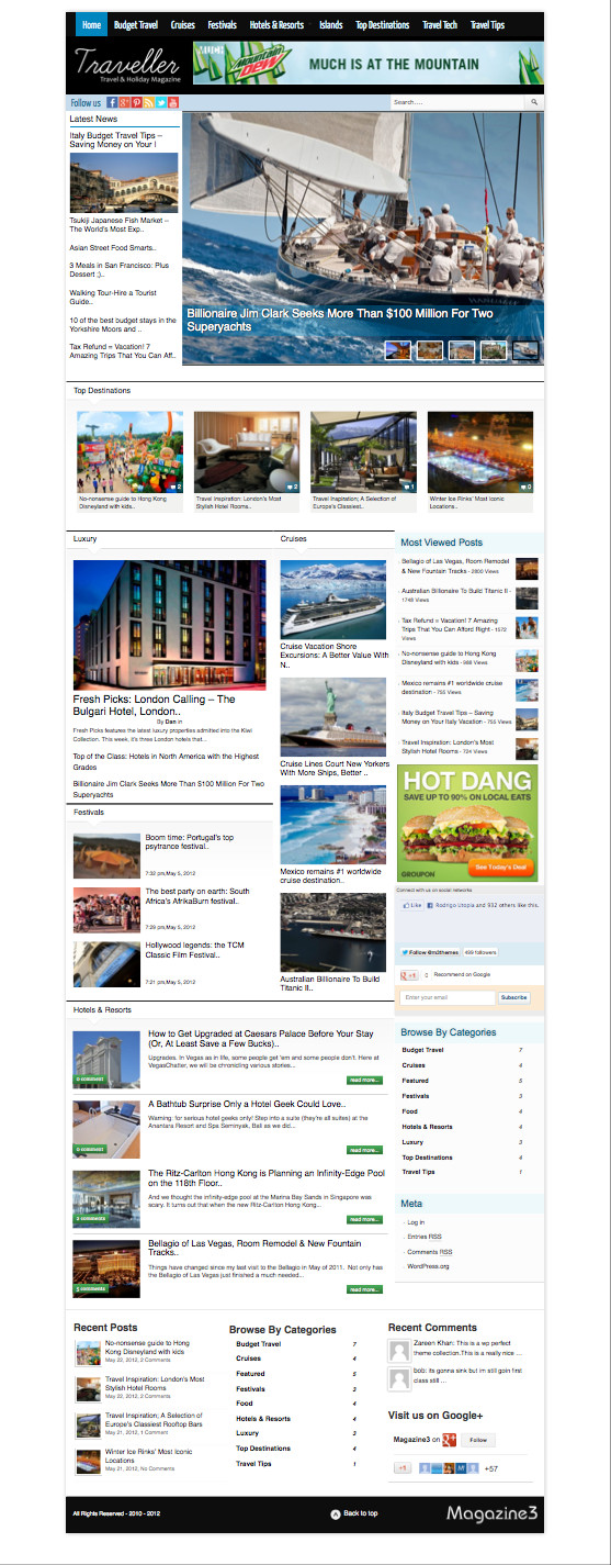 Traveller WordPress Travel Magazine Theme