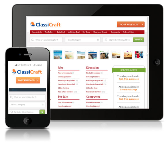 ClassiCraft – A Responsive WordPress Classified Ad Listing Theme