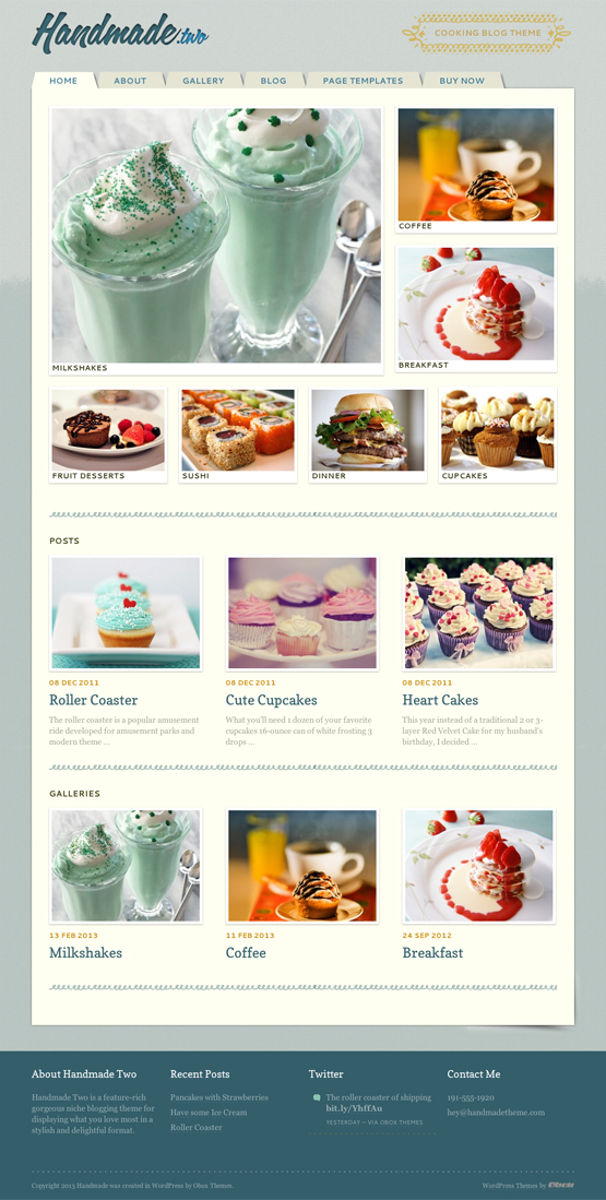 Handmade Two WordPress Cooking Theme