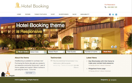 Hotel Booking 2 Responsive WordPress Theme